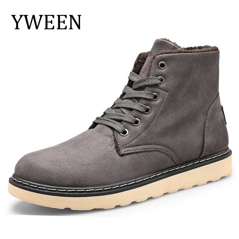 35f527c46d7 YWEEN New Winter men's Boots Men Warm Plush Cotton ankle Boot Round Toe  Lace-up man Shoes