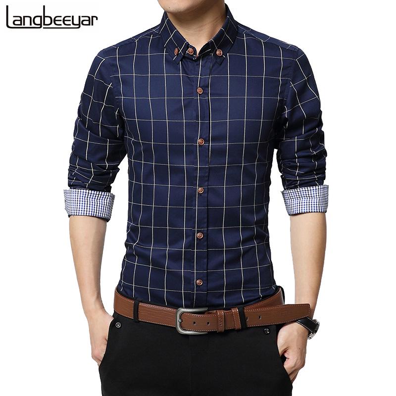 9b7c58721d81f New Autumn Fashion Brand Men Clothes Slim Fit Men Long Sleeve Shirt Men  Plaid Cotton Casual Men Shirt Social Plus Size M-5XL