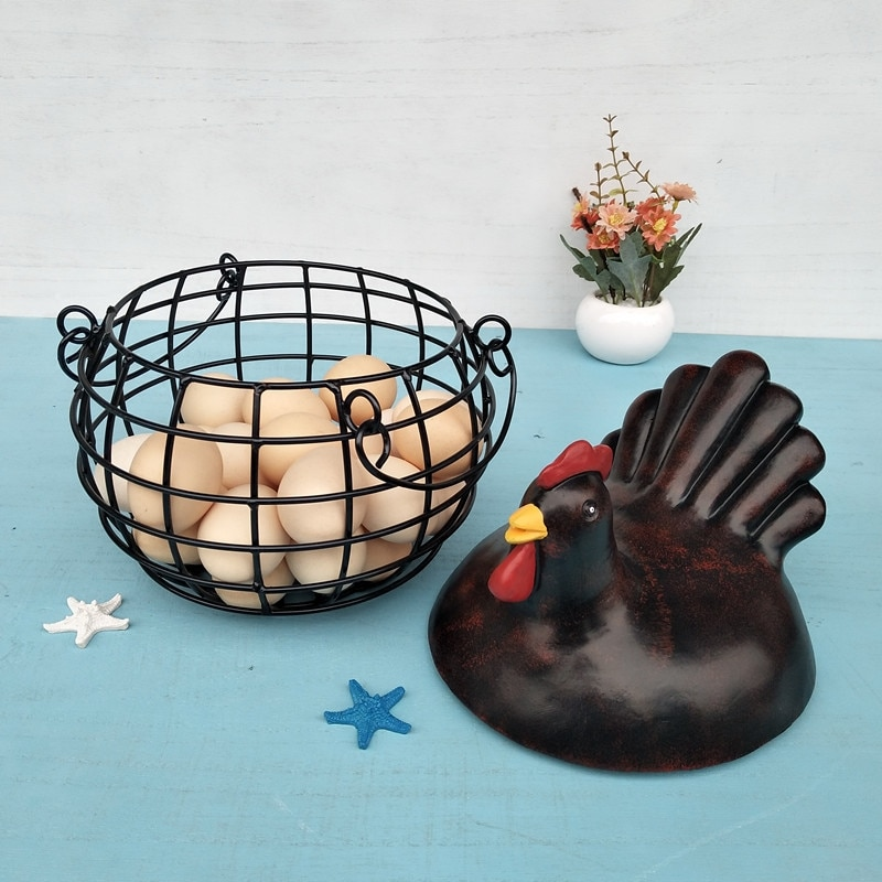 Iron Ceramic Hen Ornament Egg Fruit Storage Basket Container Home Supplies HOT